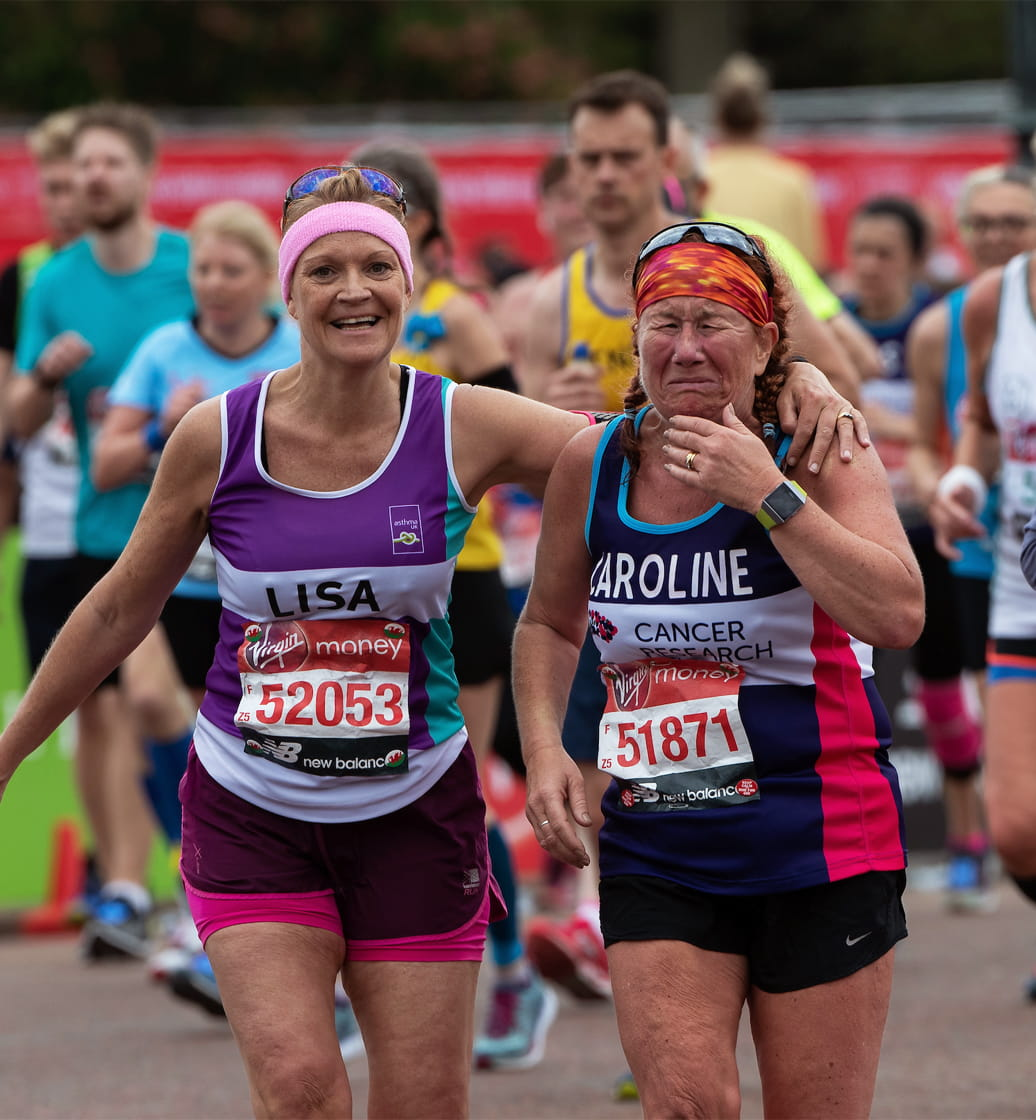 Charity runner fights back the tears as she nears the finish line
