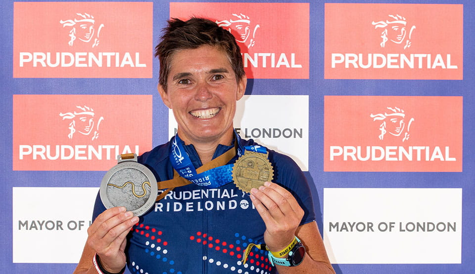 Georgie Lloyd with her London Classics medal at Prudential RideLondon