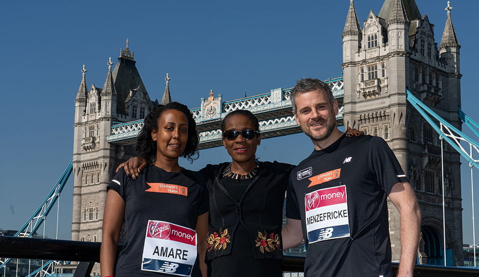 Baroness Lawrence with members of Stephen's Team, who ran the Virgin Money London Marathon for The Stephen Lawrence Charitable Trust