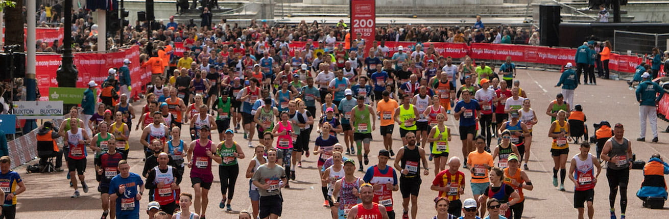 Runners approach the Finish Line on The Mall at the Virgin Money London Marathon