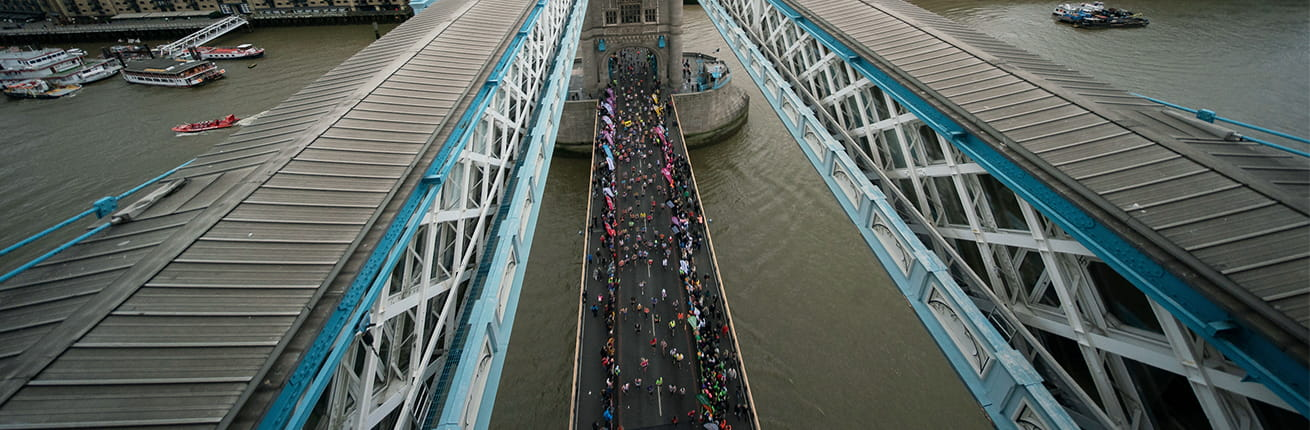View of the race from Tower Bridge