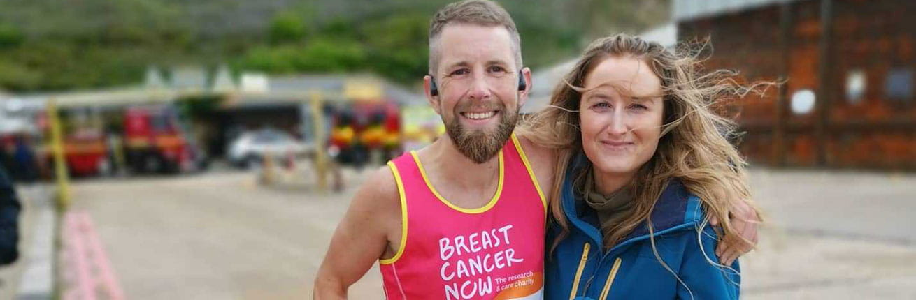 Rich May, charity fundraiser for Breast Cancer Now after completing the virtual Virgin Money London Marathon