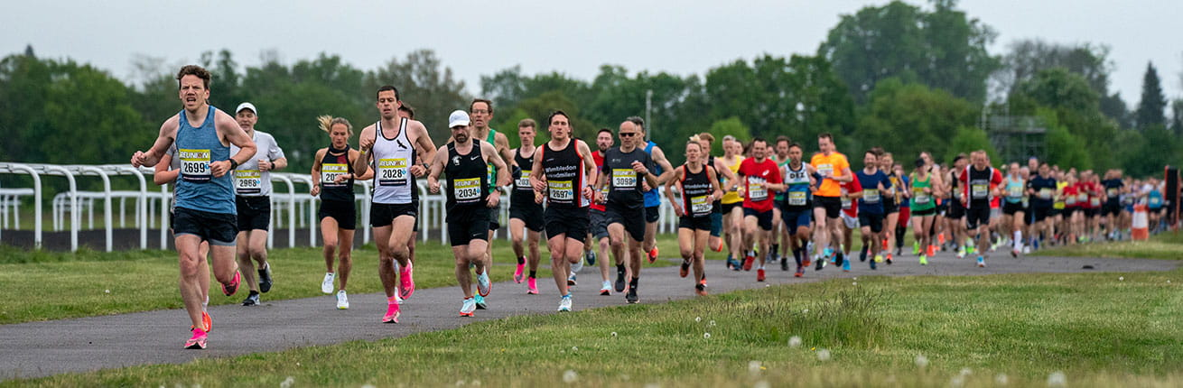 Runners at the Reunion 5K at Kempton Park race course