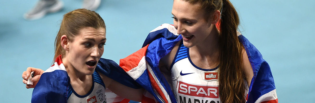 Verity Ockenden and Amy-Eloise Markovc at the European Indoor Championships